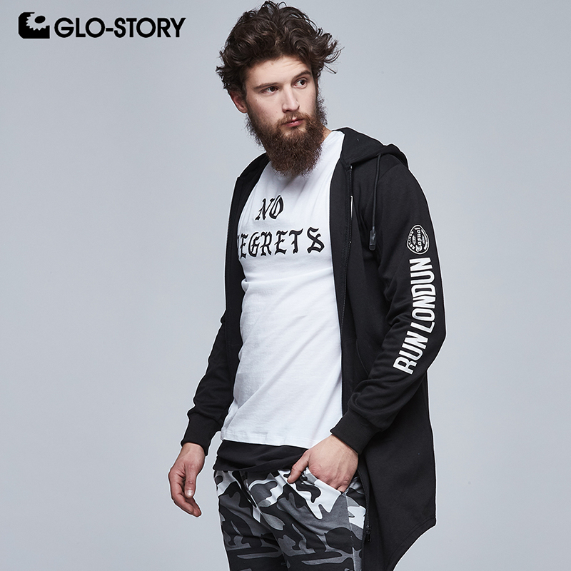GLO-STORY Mens 2018 Full Zipper Casual Streetwear Long Sweatshirts Men Soft Knitted Hip Hope Fashion Sweat Hoodie Coat MPU-6179