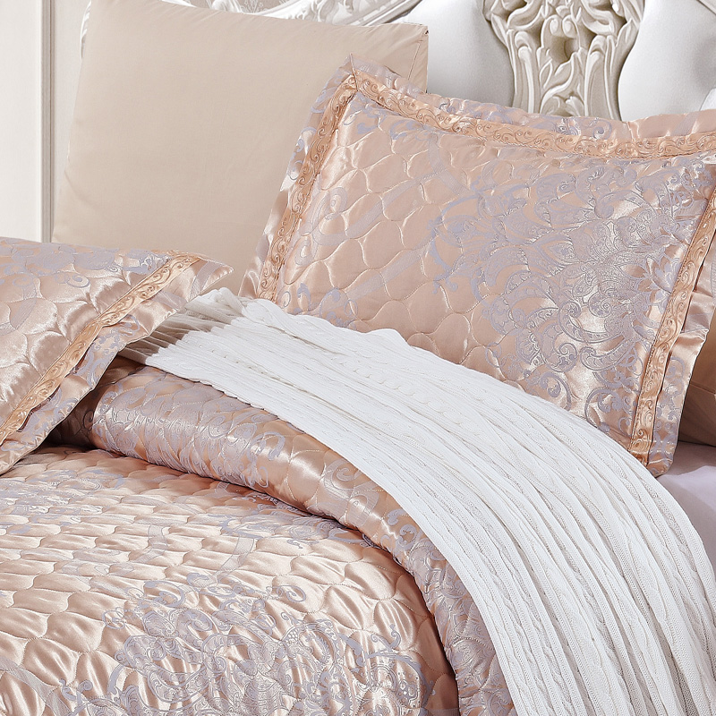 Brand Quilted Quilt Thick Bed Sheet Pillowcases Set 5pcs Embroidery Bedspreads Stiching Bedcover Shiny Jacquard Coverlet