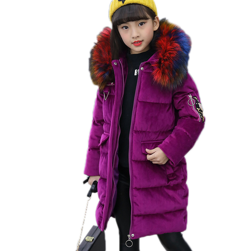 children winter jackets kids winter coats long section solid cotton padded coat for girls thicken flannelette children outwear yagenz 2017 new feather cotton coats winter korean version of the long section of the big hair collar loose thick cotton coat