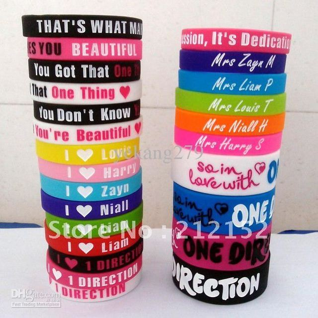HOT 25pcs I love one direction silicone wristband Silica gel bracelet Wrist Band I Heart 1D Bracelets free shipping