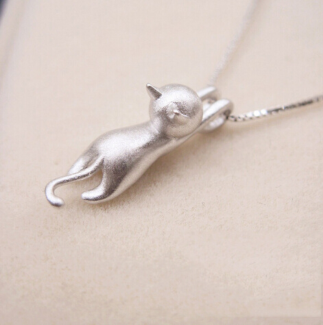 Genuine 925 Sterling Silver Necklaces Cats Pendants Necklaces Sterling Silver 925 Kitty Necklace Fine Jewelry Colar