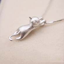 Genuine 925 Sterling Silver Necklaces Cats Pendants&Necklaces Sterling Silver 925 Kitty Necklace Fine Jewelry Colar de Plata D1