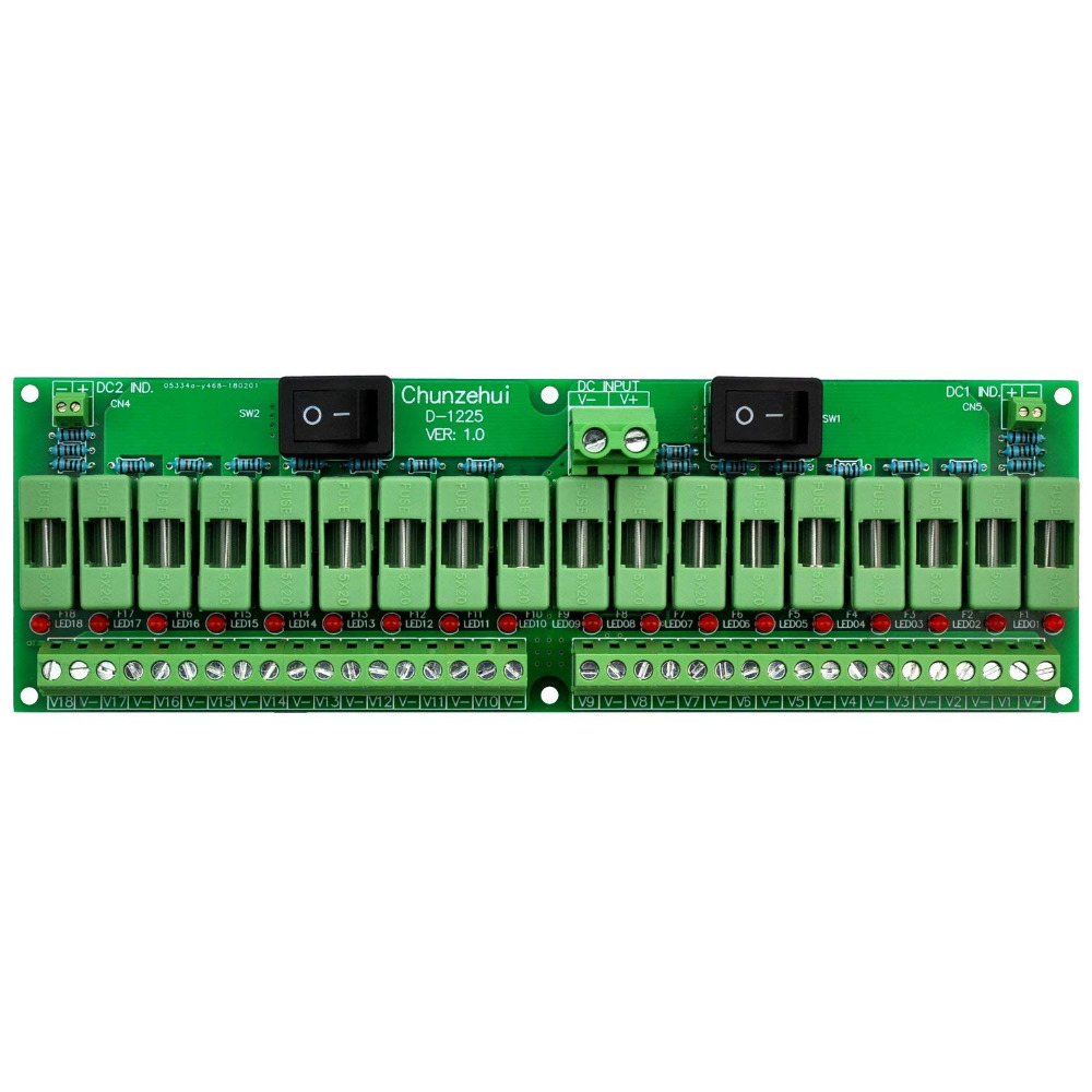 Electronics-Salon 18 Channels 12V/24V 20A Power Distribution Fuse Module, For CCTV Security Camera Ect DIY.