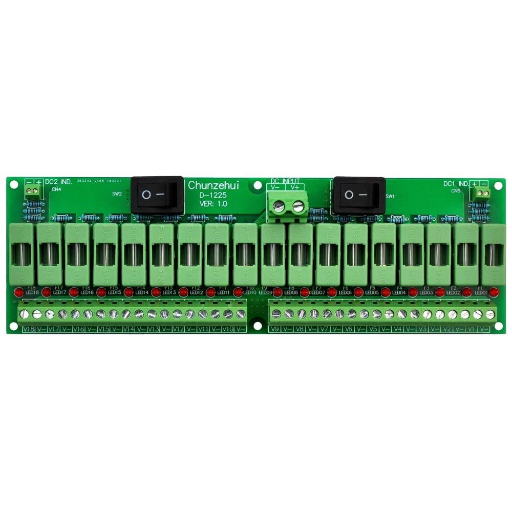 Electronics-Salon 18 Channels 12V/24V 20A Power Distribution Fuse Module, For CCTV Security Camera Ect DIY.