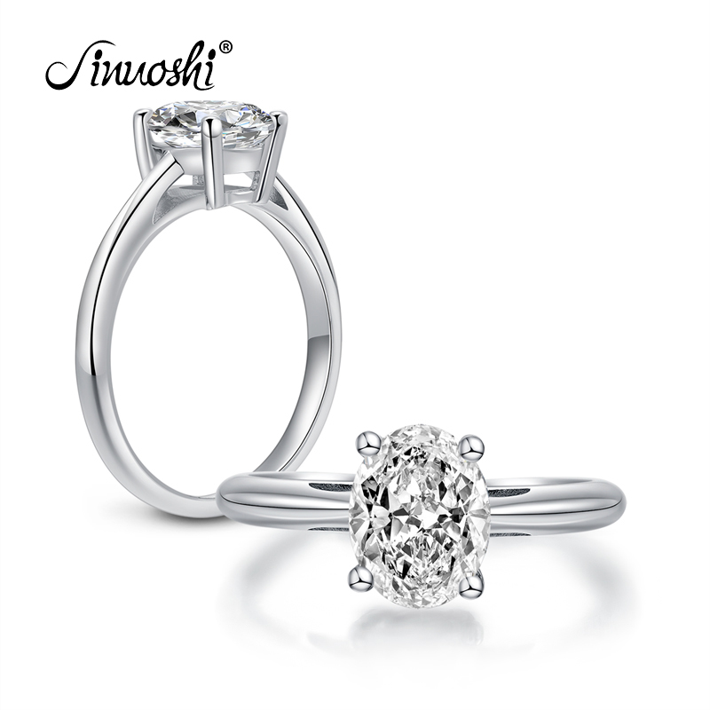 AINOUSHI Women Engagement Solitaire Ring 2 Carat Oval Ring Wedding Women 100% 925 Sterling Silver Sona Rings Anillo De Mujeres