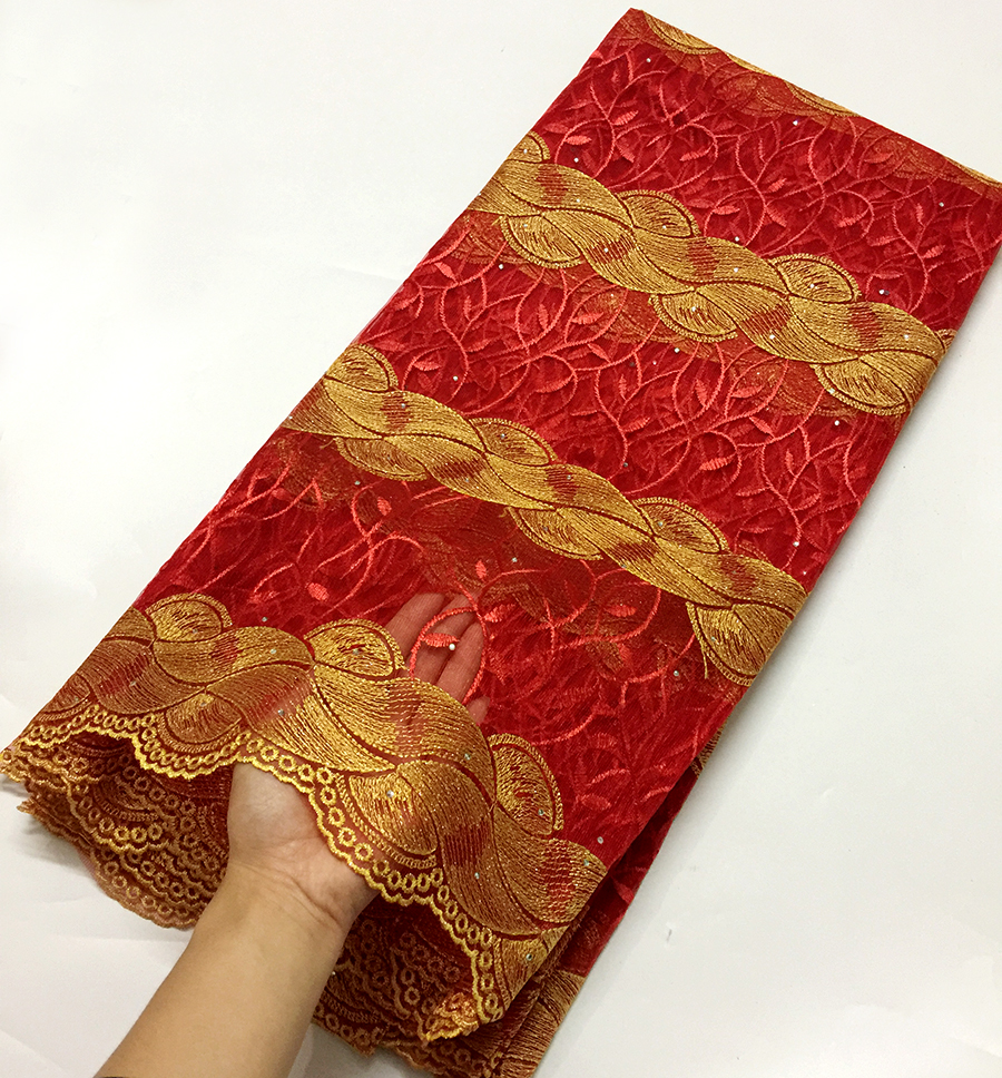 Newest style Red+Gold Yellow African lace fabric 2018 high quality French tulle Lace Fabric with stones for party dress 5 yards