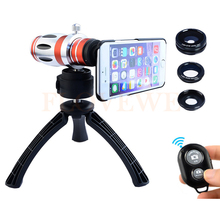 On sale 2017 Phone Lenses Kit 12.5X Telephoto Zoom Telescope Lens Macro Wide Angle Fisheye lentes For Samsung note 2 3 4 5 S5 S6 S7 edge