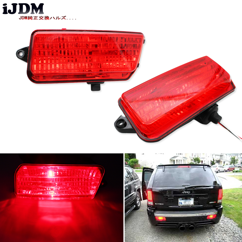 iJDM Complete Set LED Rear Fog Light Kit w/ LED Bulbs, Rear Foglamps, Wirings For 2005-2010 WK1 Jeep Grand Cherokee WK1 12pcs canbus car led light bulbs interior package kit for 2005 2010 jeep grand cherokee map dome trunk license plate lamp white