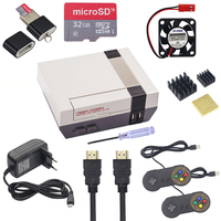 NESPi CASE+Plus Raspberry Pi 3 Model B+ NES Retroflag Box + 32G SD Card + Game Controller + Swith Power Supply +Fan +HDMI Cable