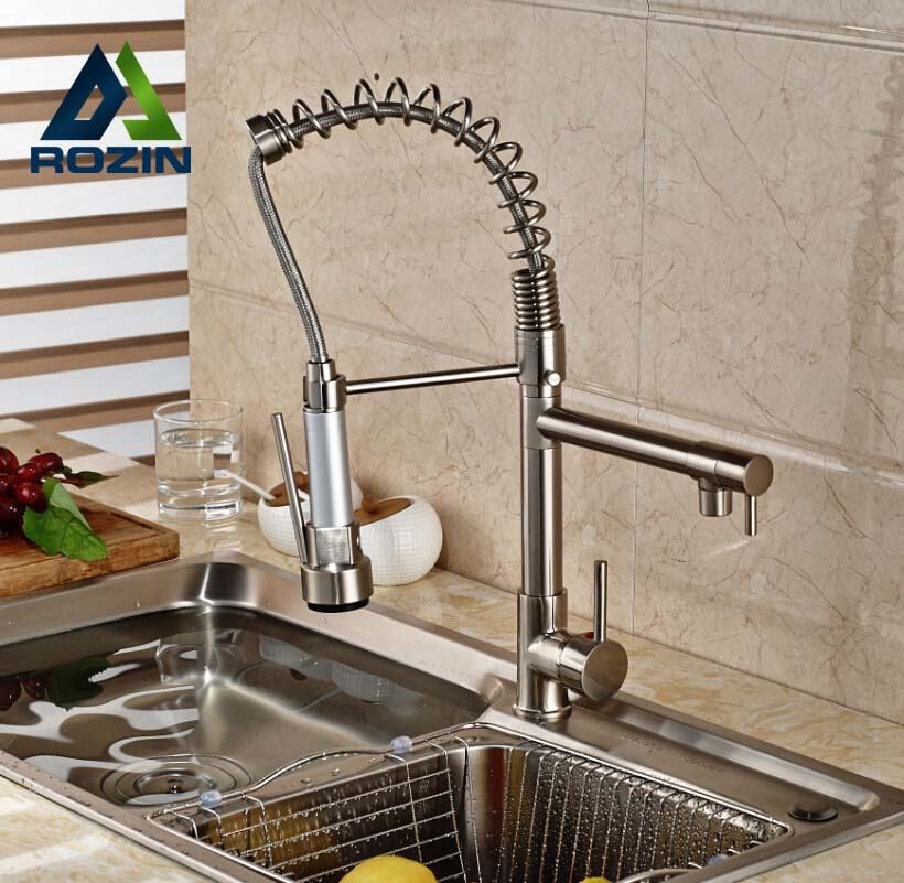 Rozin Brushed Nickel Dual Swivel Spout Kitchen Sink Faucet Pull Down Spring Spray Bathroom Kitchen Mixer Tap Deck Mounted brushed nickel double handles spray stream brass water kitchen swivel spout pull out vessel sink deck mounted mixer tap faucet