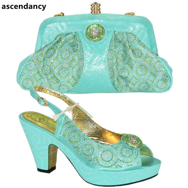 Blue Color African Matching Shoe and Bag Italian In Women Bag and Shoes Set Italy High Quality African Wedding Shoes and Bag Set