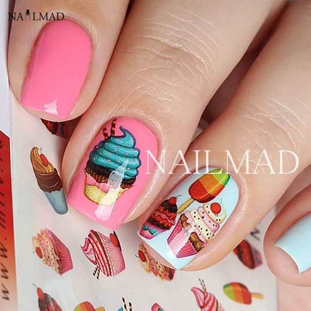1 Sheet Delicious Cake Cake Nail Art Sticker Chocolate Water Transfer Full Decals