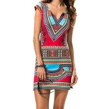 Для Женщин Дашики Платье 2018 женские короткие v-образным вырезом Sexy африканских платья традиционной печати мини Для женщин Лето Boho пляжное платье