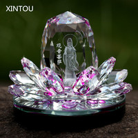 XINTOU Crystal Glass Block Lotus Flower GUANYI Perfume Bottle Figurine Fairy Feng shui Angel Buddhism Statue figurines Craft