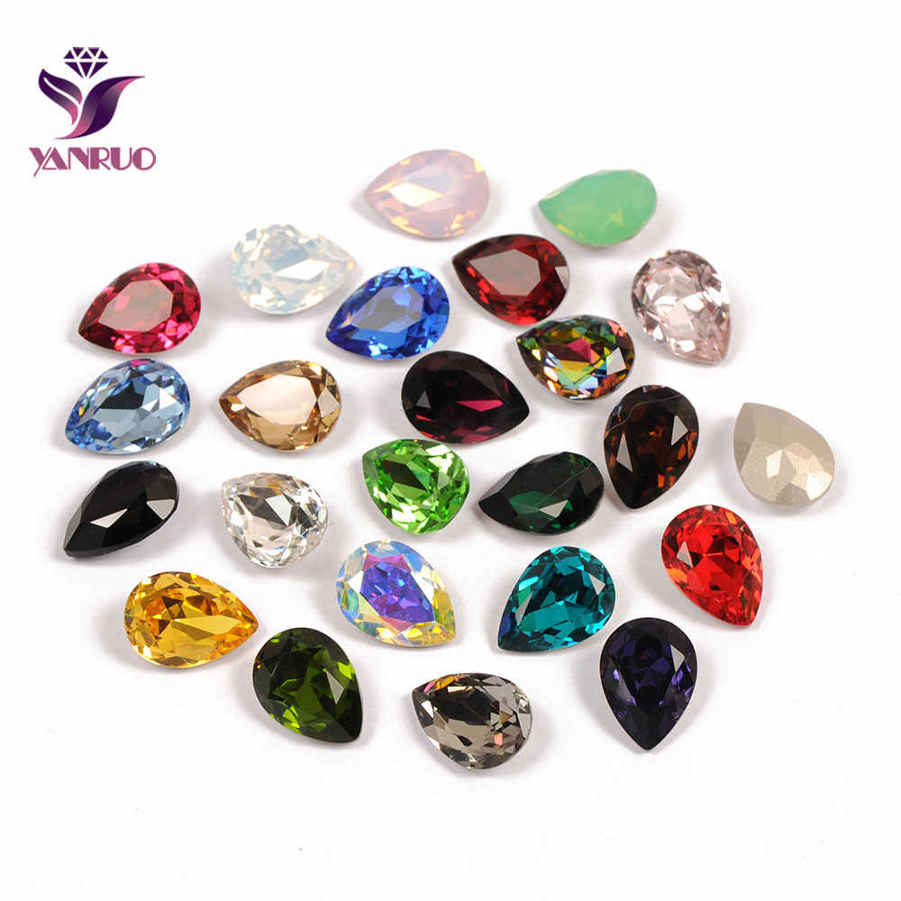 YANRUO Fancy Rhinestones Glass Drop Pear Diamond Stones for Crafts Sewing Ornaments Bright for Accessories