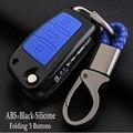 For Audi Silicone Car Key Cover FOB Case For AudiR8 A1 A4 A5 A6 Q3 Q5 Q7 C5 3Button Flip Remote Key Jacket Wallet Car-stying