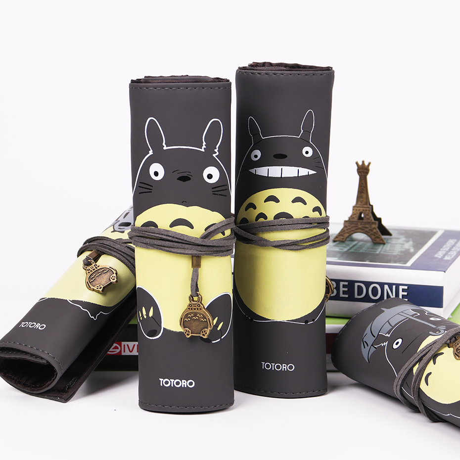My Neighbor Totoro PU Leather Makeup Brushes Bag Cosmetics Case Brushes Protect Pouch Storage Bag Gift