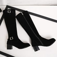 Big Size 9 10 11 12 thigh high boots knee high boots over the knee boots women ladies boots Side zipper with belt buckle(China)