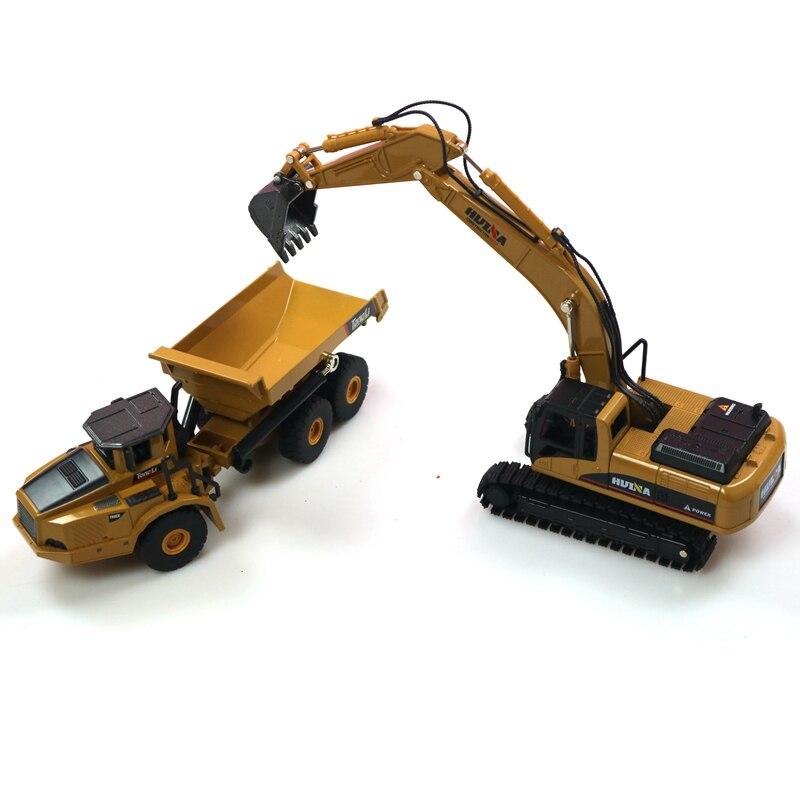 HUINA 1:50 Самосвал экскаватор колесный погрузчик литая металлическая модель строительная машина игрушки для мальчиков подарок на день рождения коллекция автомобилей - Цвет: excavator and truck