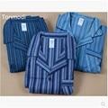 Sleepwear Lounge Pants Mens Pajama Set 100% Cotton Flannelet Stripe Sleepwear At Home Leisure Clothing