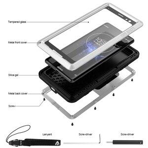 Image 2 - Sony Xperia için XZ3 telefon kılıfı ağır koruma zırh Metal sert ekran filmi temperli cam XZ 3 tam kapak silikon muhafazaları