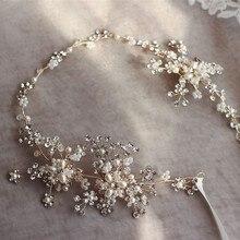 Модные золотые, серебряные стразы для волос, свадебная повязка на голову, аксессуары, жемчужные свадебные украшения, украшения для волос, женская одежда для волос