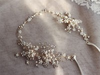 Fashion Gold Silver Rhinestone Hair Vine Bridal Headband Accessories Pearls Wedding Jewelry Hair Ornaments Women Hairwear