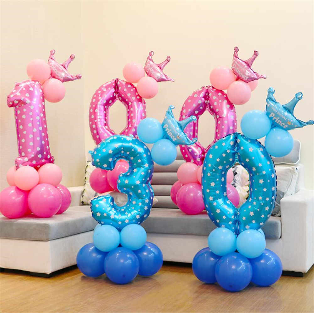 13 ชิ้น/เซ็ตวันเกิดลูกโป่งเด็กจำนวนฟอยล์ลูกโป่ง Happy Birthday Party ตกแต่งเด็กบอลลูนการ์ตูนหมวก