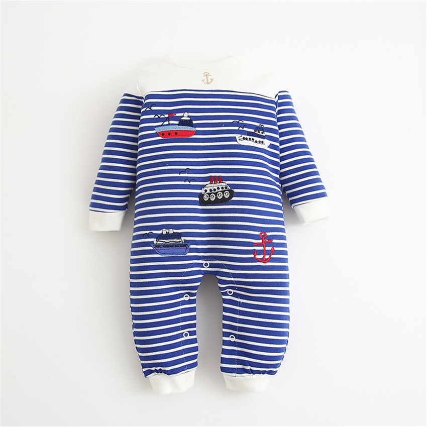 Sailor Striped Baby romper Baby girl boy costume clothes newborn long-sleeve spring autumn winter sleepwear Baby romper 2pcs set newborn floral baby girl clothes 2017 summer sleeveless cotton ruffles romper baby bodysuit headband outfits sunsuit