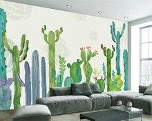 Beibehang Custom wallpaper simple hand-painted American pastoral cactus living room TV backdrop wall mural photo 3d
