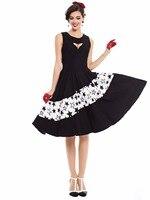 Sisjuly 1950 S Vintage Dress Star Pattern Summer Dress Knee High A Line Women Elegant Black