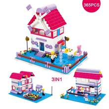 3IN1 Girl's Pink Dream Windmill Paradise Garden Villa Model Blocks Girls Figures Building Block DIY Assembling Toy For Girl Gift