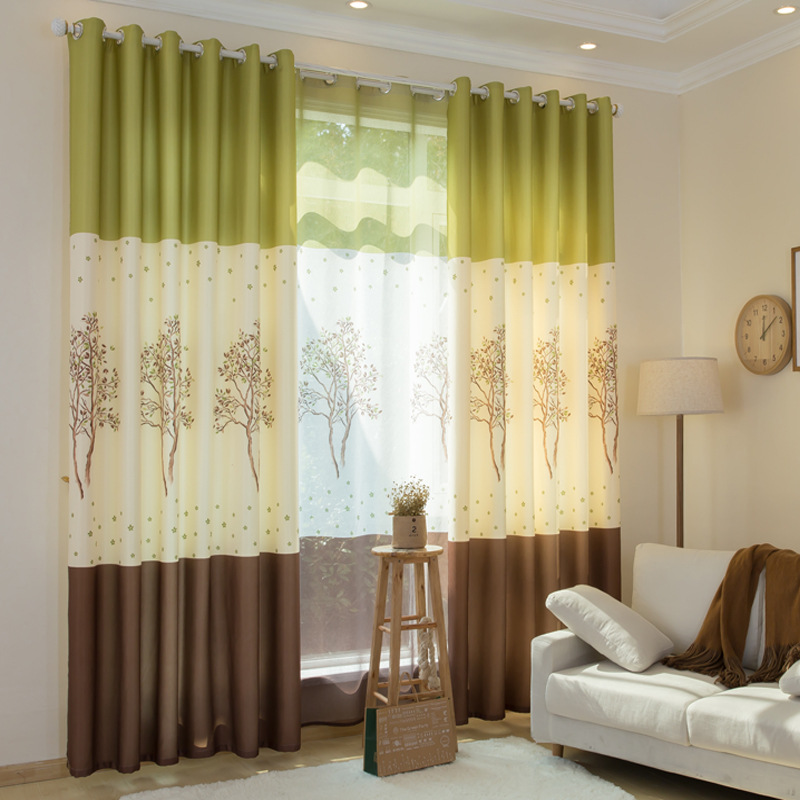 Byetee Modern Living Room Luxury Window Curtains Striped: [byetee] Modern Tree Printed Curtains Tulle Living Room