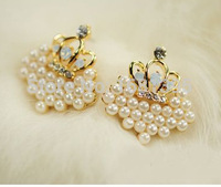 Hot Sales Plated Exquisite Candy Rhinestone Simulated simulated Pearl Rhombus Crown Earrings--CRYSTAL SHOP Free shipping