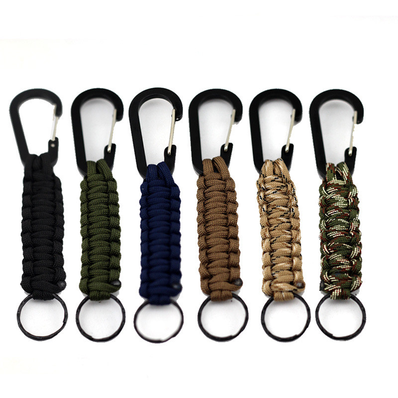 Outdoor Survival Kit Cord Keychain Military Emergency Paracord Rope Carabiner For Fishing Lanyards Boating Climbing Accessories