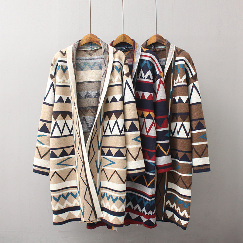 2018 Woman Sweater Oversized Bohemian Chic Ladies Knitting Long Sleeve Cardigan High Quality Hot Sale Loose Casual Jacket
