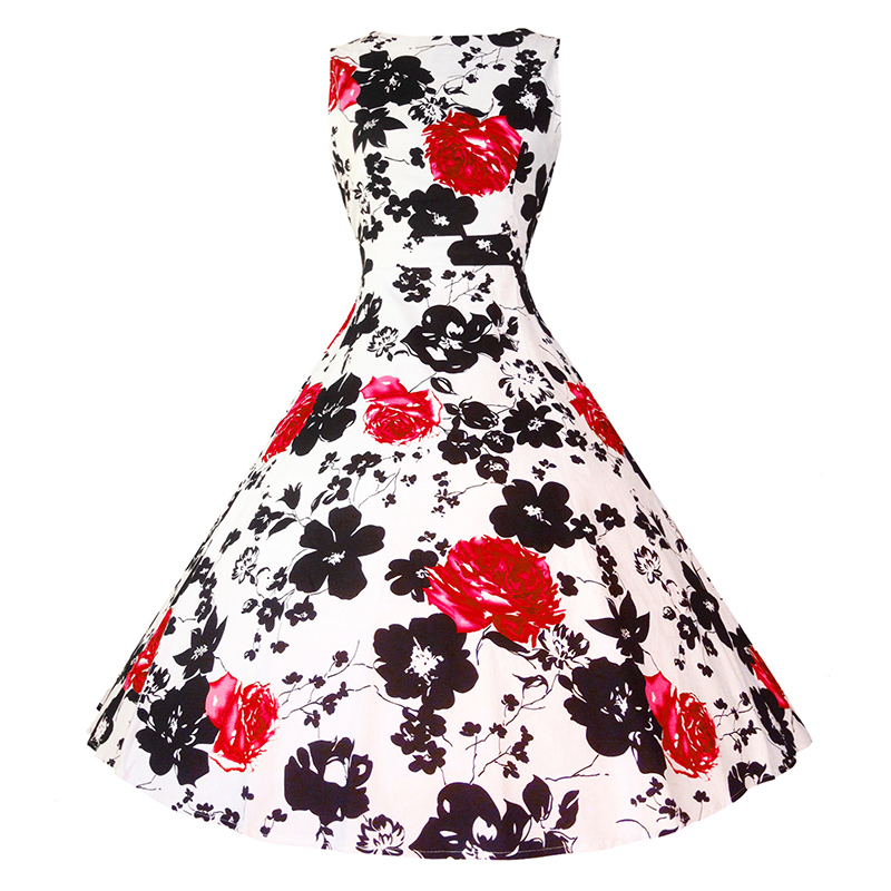 Kostlish Cotton Summer Dress Women 2017 Sleeveless Tunic 50s Vintage Dress Belt Elegant Print Rockabilly Party Dresses Sundress (85)