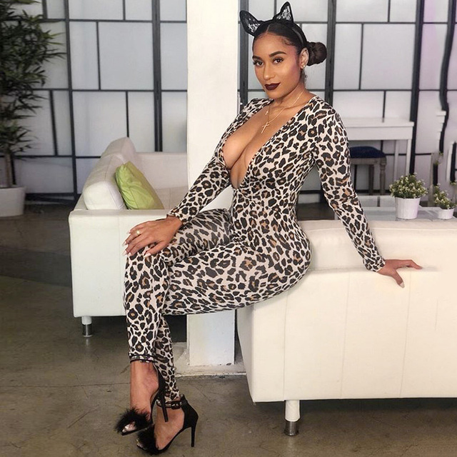 a1f94ff6f6de 2019 Hot Sell Romper Women Leopard Jumpsuit Print Lacing Elegant Sexy Spring  Bodysuit Female Overalls Casual Catsuit Dungarees