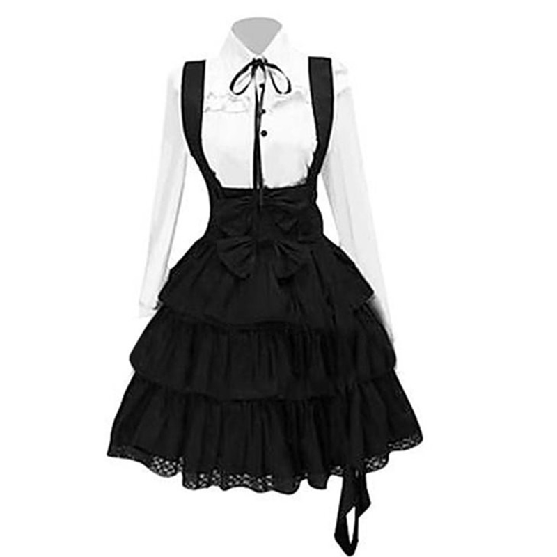 Vintage Elegant Party Gothic Summer Women Lolita Dresses Big Size Chic Ruffles Lace Up Bowknot Retro Princess Female Goth Dress