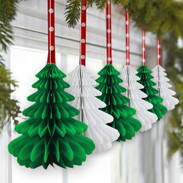 6pcs 27cm honeycomb christmas trees 3d tissue paper tree table centerpiece christmas hanging decorations