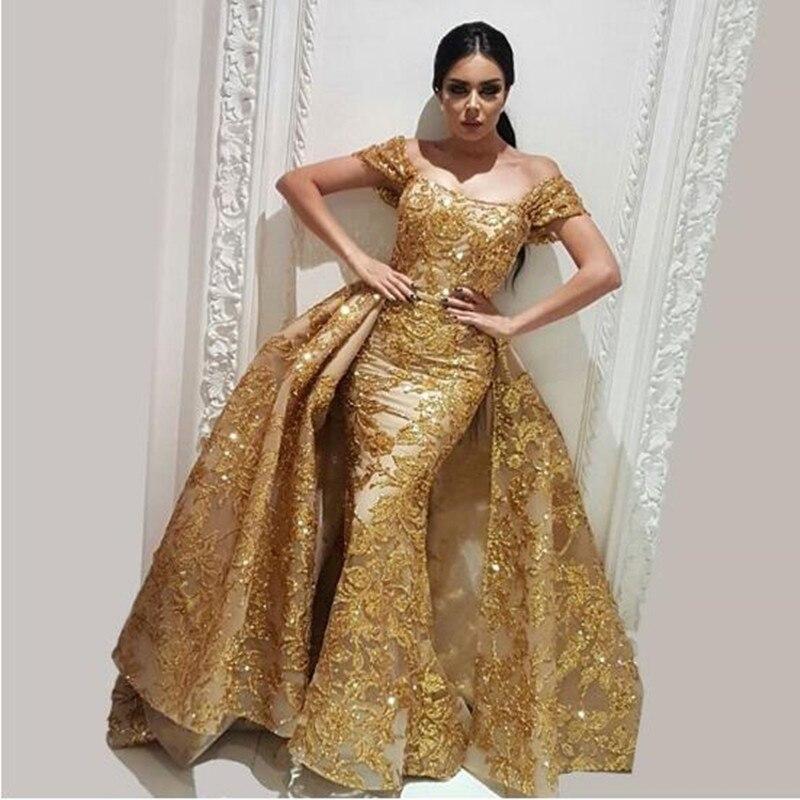 7e085b4a790 Haute Couture Evening Gowns with Detachable Train Luxury Sequins Gold Lace  Applique Mermaid