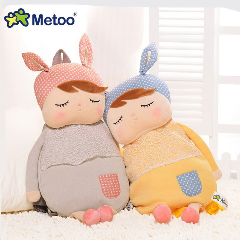 Metoo Kids Baby Bags Animals Cartoon Doll Toy Children Shoulder Bag for Kindergarten Angela Rabbit Girl Panda Plush Backpacks mini kawaii plush stuffed animal cartoon kids toys for girls children baby birthday christmas gift angela rabbit metoo doll
