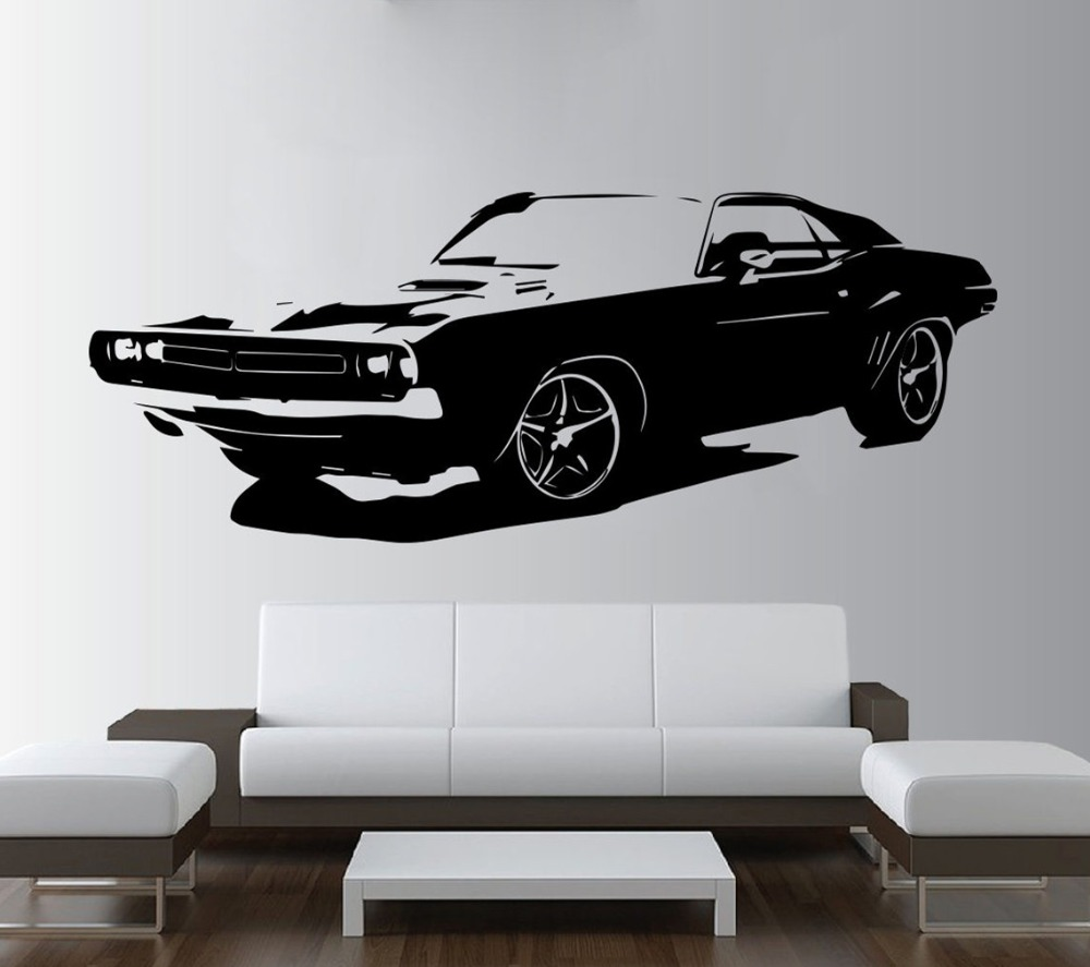 Free shiping Removable Large Car Dodge Challenger Bedroom Wall Sticker Art Home Decor Vinyl Living Room Paper