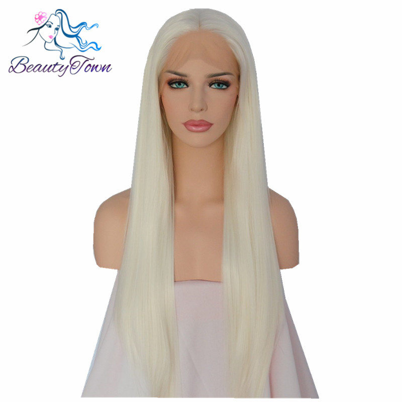 BeautyTown White Color Heat Resistant Hair Hand Tied Big Lace Part Glueless Perruque Synthetic Lace Front