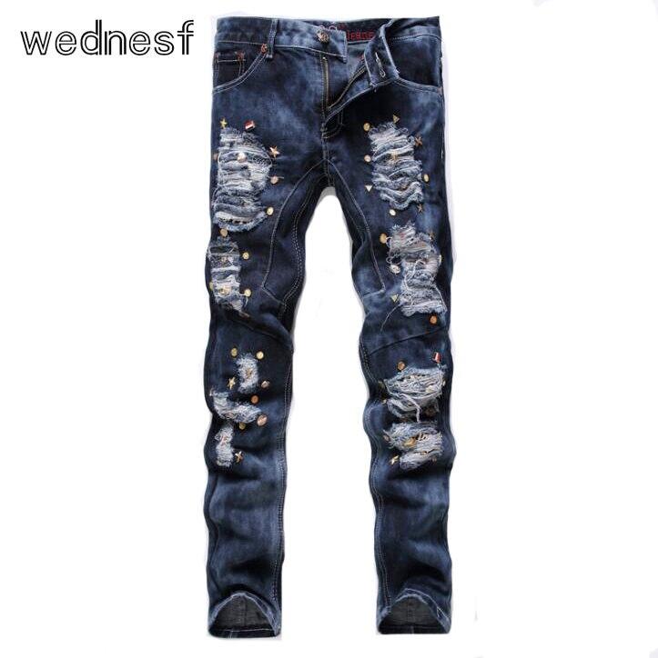 #1928 2017 Slim With rivet Designer jeans men Hip hop jeans Fashion Mens jogger jeans Straight Ripped jeans for men Motorcycle