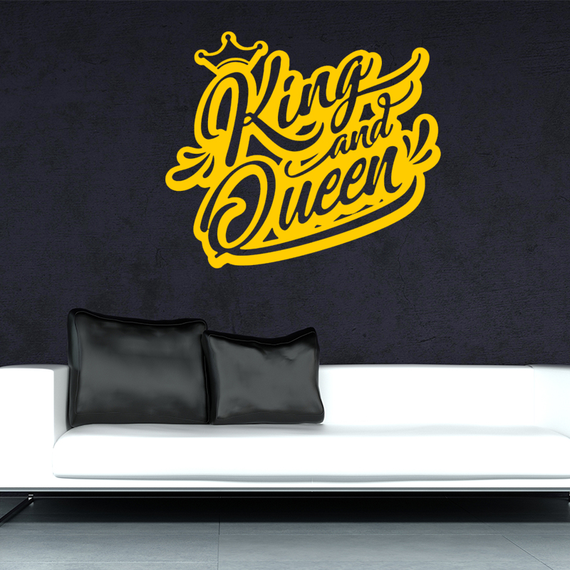 Online Shop Vinyl Wall Decal Logo King And Queen Crown Words ...