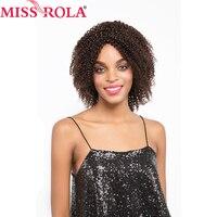 Miss rola Cheveux Brésiliens Vierge de Cheveux Humains # 1b/#4 kinkly Bouclés plein Perruques de Cheveux Humains Pour Les Femmes Noires Courtes Non Dentelle Perruques 180 g/pc