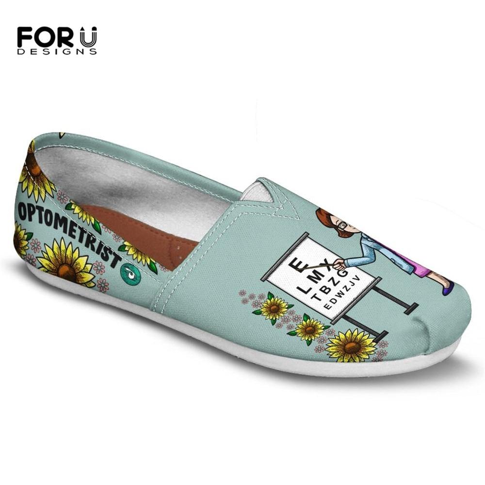 FORUDESIGNS Summer Flats Optometrist Lazy-Shoes Female Women Lady Custom Canvas Casual