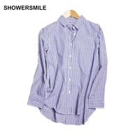 SHOWERSMILE Classic Cotton Striped Shirt Womens Clothing Adjustable Sleeve Autumn Spring Office Lady Basic Tops Blue