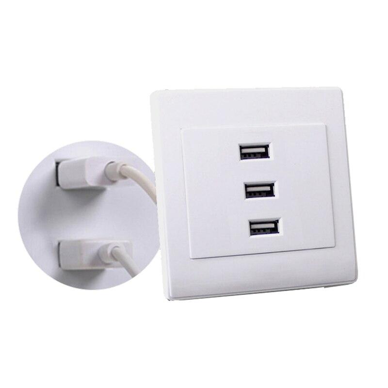 2PCS USB 2.0 <font><b>Wall</b></font> Socket <font><b>Charger</b></font> Outlet Plate Panel DC <font><b>5V</b></font> 10A 3 Ports Universal